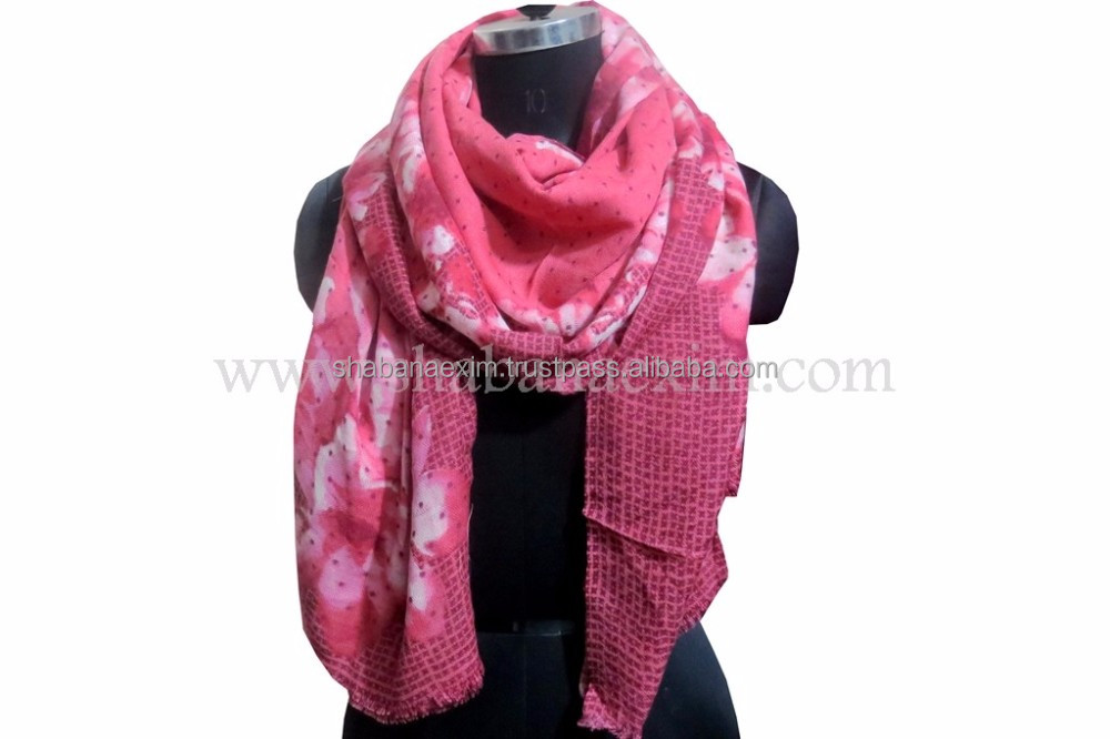 Wholesale printed wool scarf lady stole wraps shawls