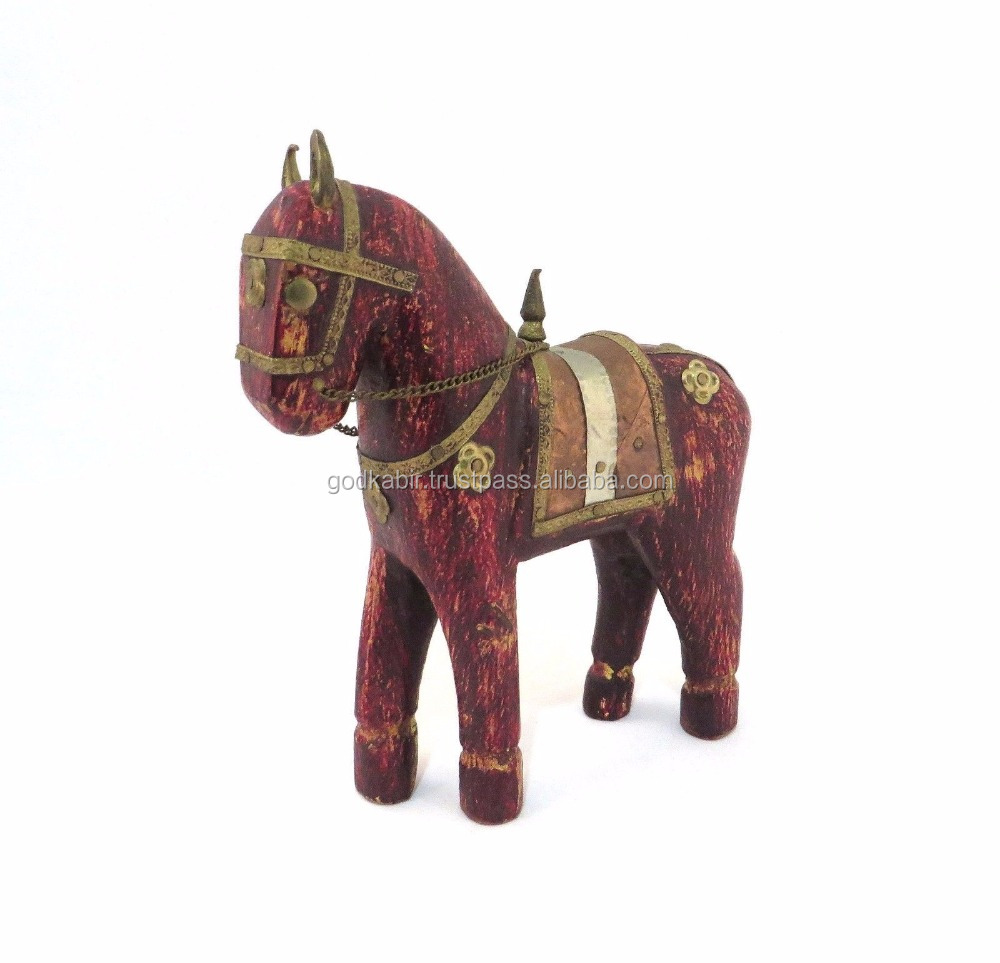 NEW HAND MADE HANDICRAFT UNIQUE WOODEN HORSE STATUE HOME DECOR/Vintage and traditional wooden horse decorative statues.