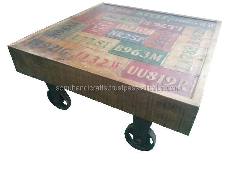 INDUSTRIAL IRON WOODEN CART COFFEE TABLE
