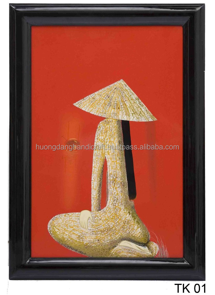 Hot trend Vietnamese long hair picture on Lacquer Paintings/ mirror lovely design painting by lacquer for exporting