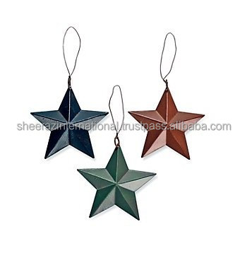 Christmas decoration stars,Set of 3 tin stars,Tin star rustic barn style ornaments