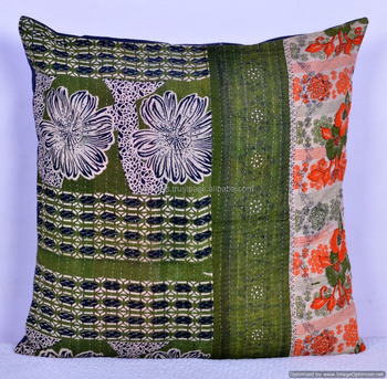 KANTHA WORK CUSHION COVER PATCHWORK ETHNIC PILLOW COVER THROW INDIAN DECORATIVE CASES