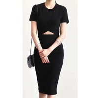 Short sleeve dress cotton 95% + Spandex 5% Black color korea Fashion products