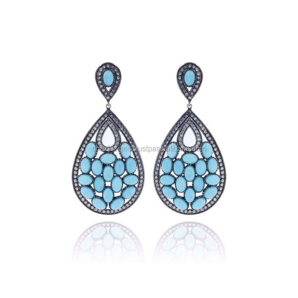 Pave Diamond Turquoise Gemstone Earrings, 14K Yellow Gold Drop Earrings Jewelry Indian Jewelry Wholesaler