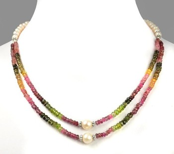 "16"" Long 2 Strand Tourmaline with Pearl Gemstone Beads Necklace"