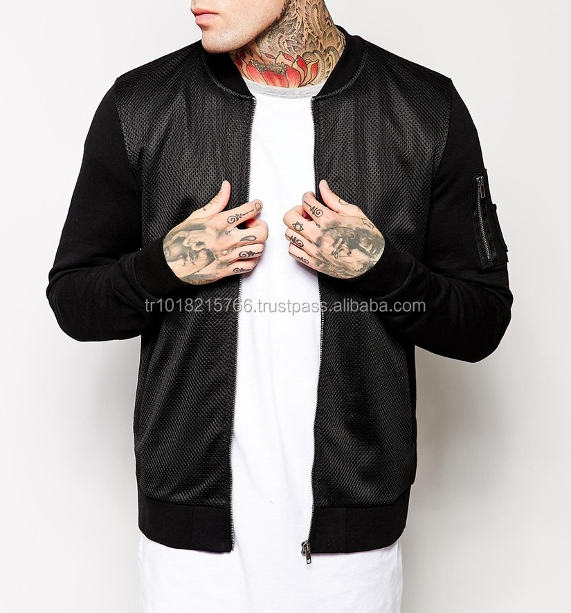 Mens Black Mesh Bomber Jacket with Jersey Hoodie