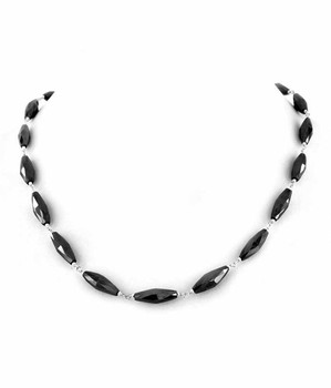 16 Inches Long Black Diamond 5x3mm Beaded Necklace. In Jiayuguan