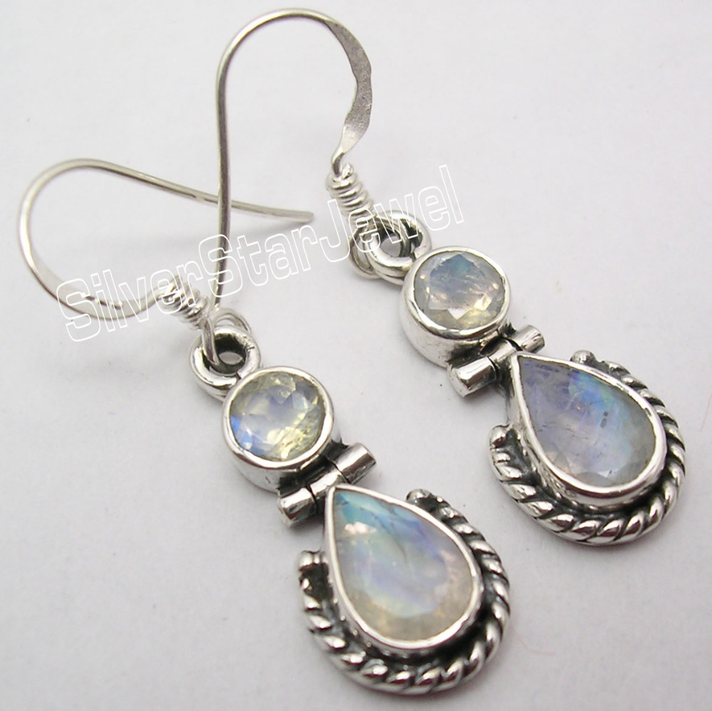 925 Sterling Silver BLUE FIRE RAINBOW MOONSTONE 2 STONE DESIGNER Dangle Earrings