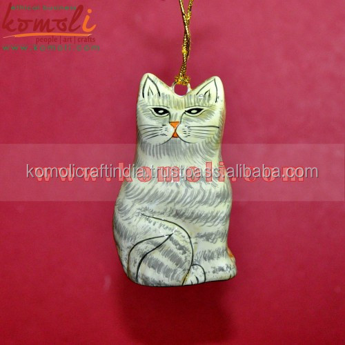 2 In 1 Hand painted paper mache christmas ornament latest wholesale Christmas decorations