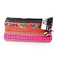 Genuine Leather Hmong Thai Cosmetic Bag