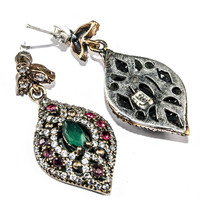 New! Beautiful Stylish 925k Sterling Silver Turkish Earrings Jewelry With Emerald & Ruby Stone from India