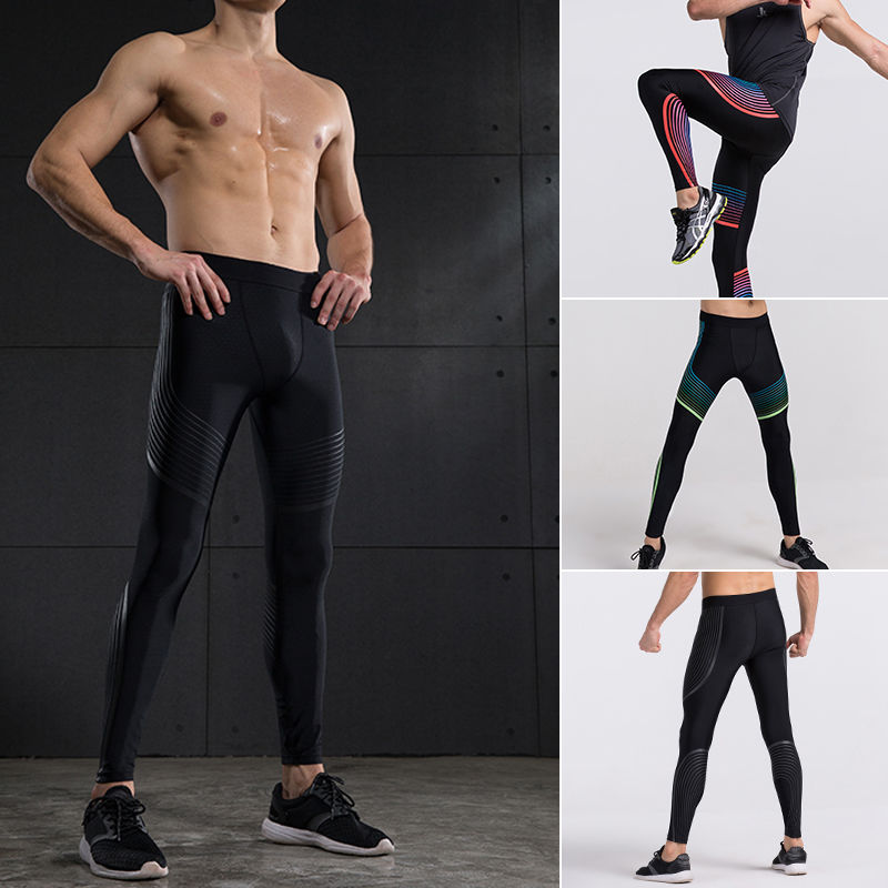 Compression GYM Tights Men Running Pants Trousers Fitness Tight Yoga Exercise