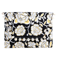 Magnolia Flower Hmong Clutch Bag with White Shells - White