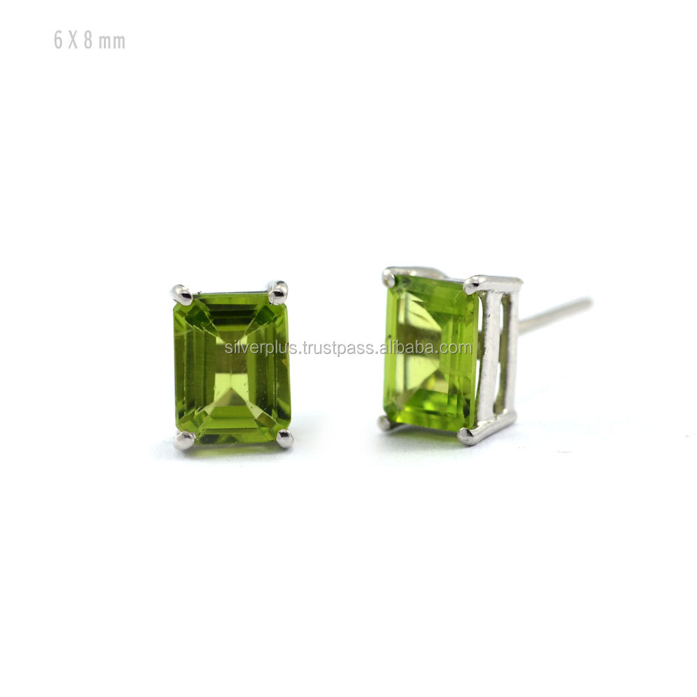 Natural Peridot 6x8 mm Octagon Stud Earrings in 925 Sterling Silver