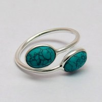 Simple Delight !! Green Turquoise 925 Sterling Silver Ring, Jewelry For All Occassions, Wholesale Gemstone Rings