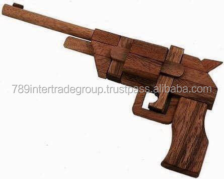 Handmade Wooden Pistol Kumiki 3D Brain Teaser Wooden Puzzle - Wooden Puzzle for Adults & Children