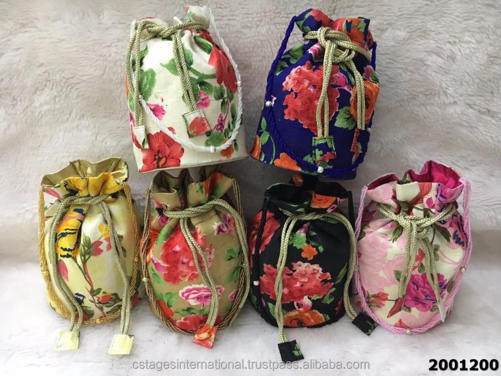Adorable Elegant Floral Print Potli Bags With Stylish Sling
