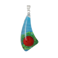 Resin Charm Pendants Horn-Shaped Blue Made With Real Flower Pattern 4.1cm x 17.0mm, 3 PCs