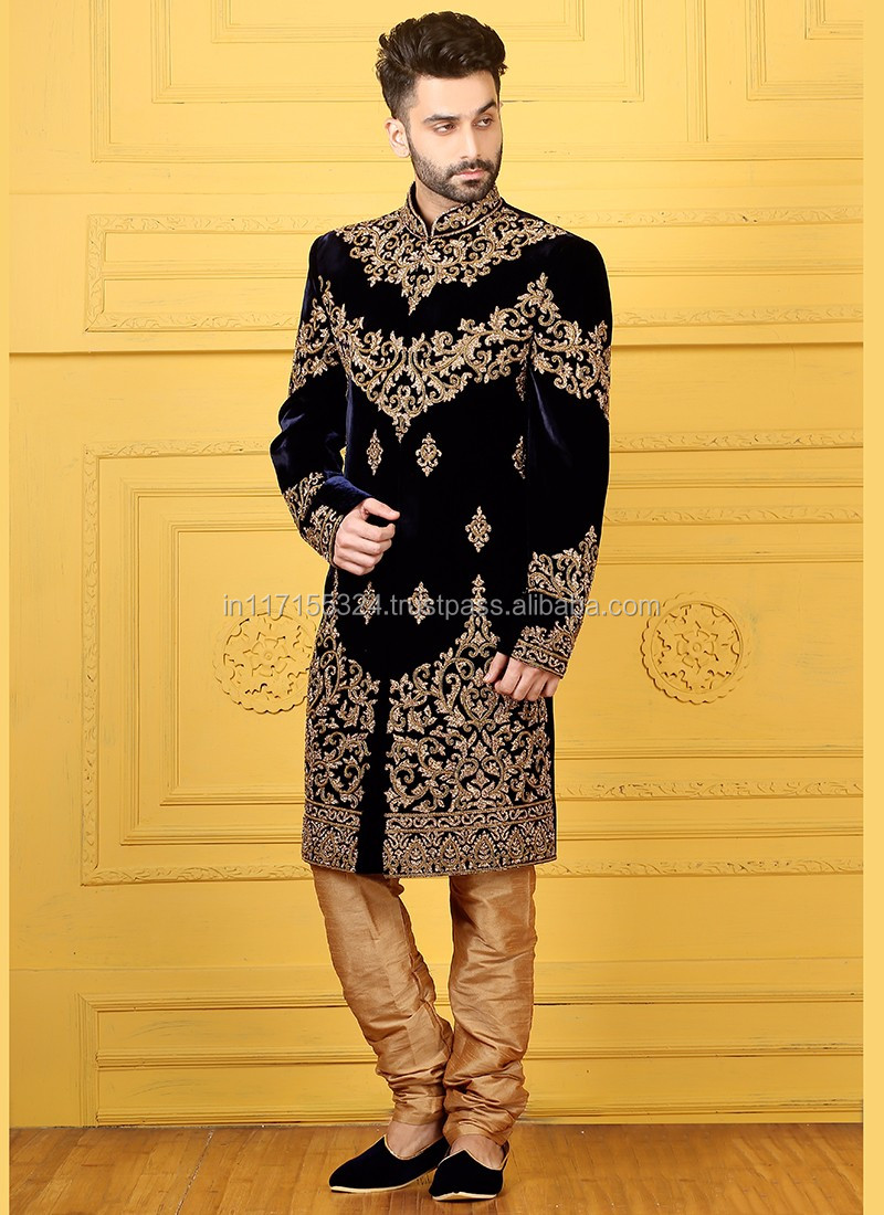 Black Velvet Wedding Wear Embroidered Work Sherwani