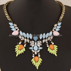 GLAMOUROUS SHINING GEMS COMBO DESIGN STATEMENT FASHION NECKLACE - COPPER