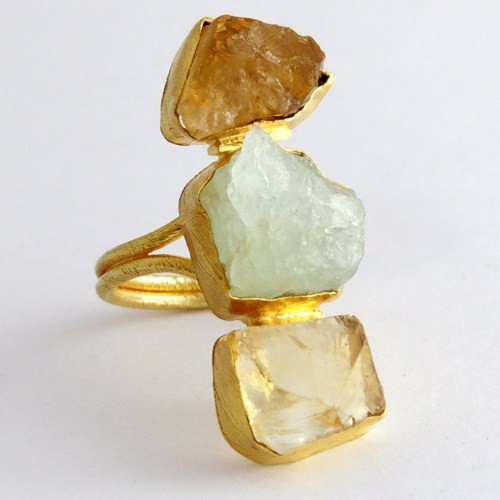 Natural Rough Stone Gold Plated 925 Sterling Silver Ring, Handmade Silver Jewelry , Wholesale Silver Jewelry