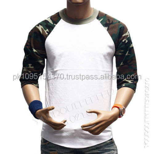 Raglan long camo sleeve t-shirt camouflage baseball t shirts wholesale