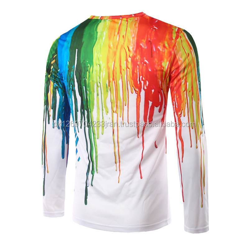 Funny 3D T-shirts Men Splashed paint ink T shirts Long Sleeve Trend Character Round Neck Printed Quick Dry
