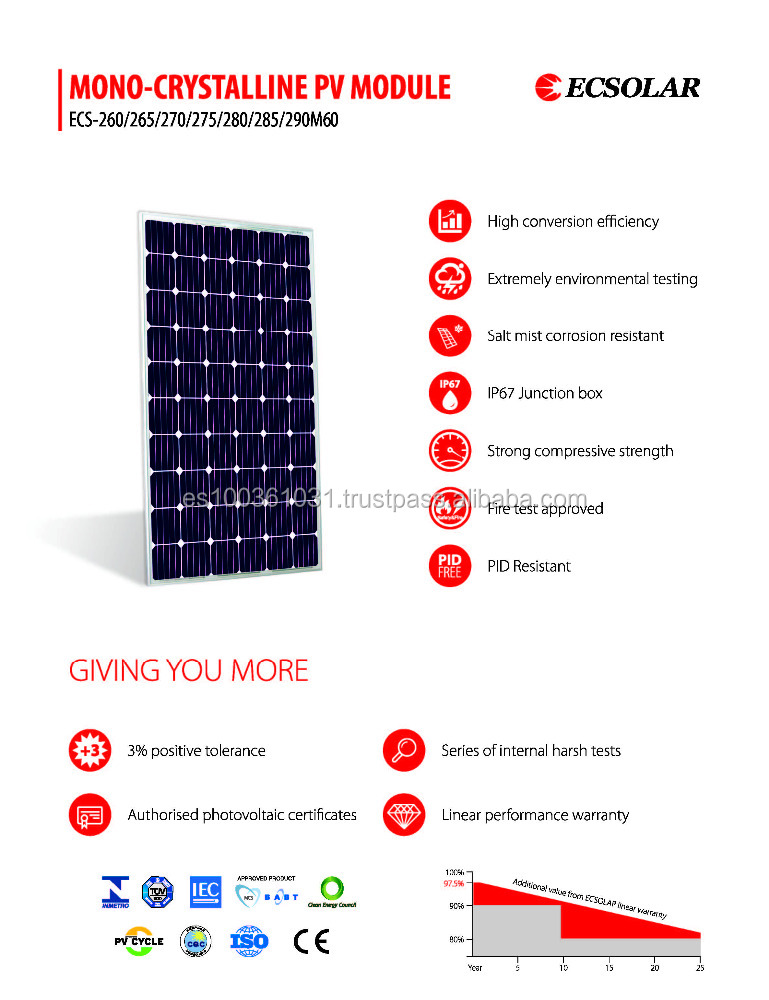 Solar panel 280w Monocrystalline 60 cells high quality ECSolar