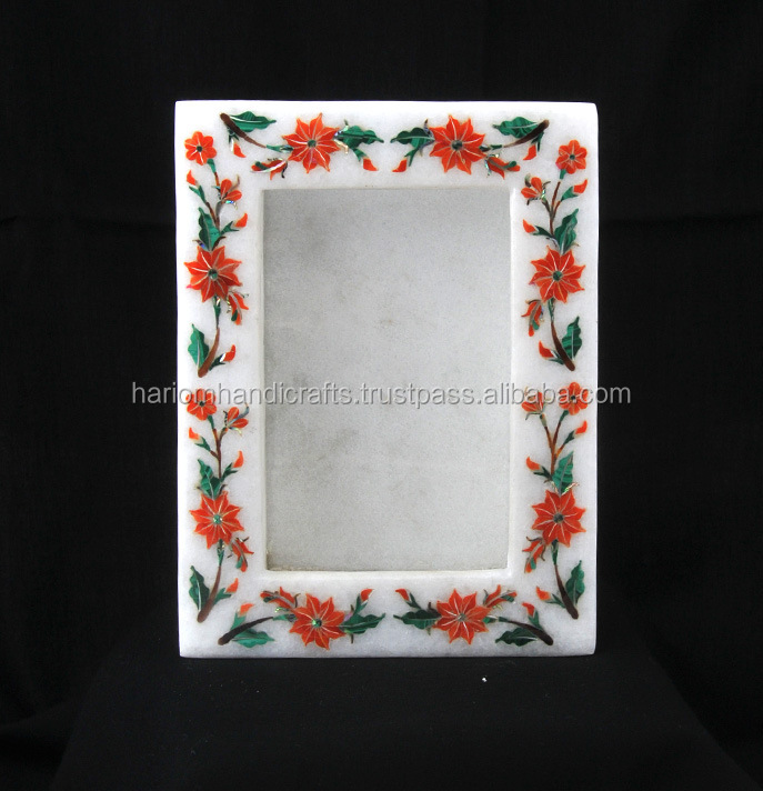 White Marble Inlay Art Photo Frame