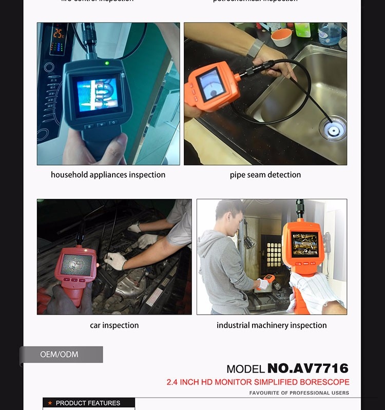 EXTENDIBLE PIPE Technology and Snake Camera inspection borescope with 2.4 inch screen