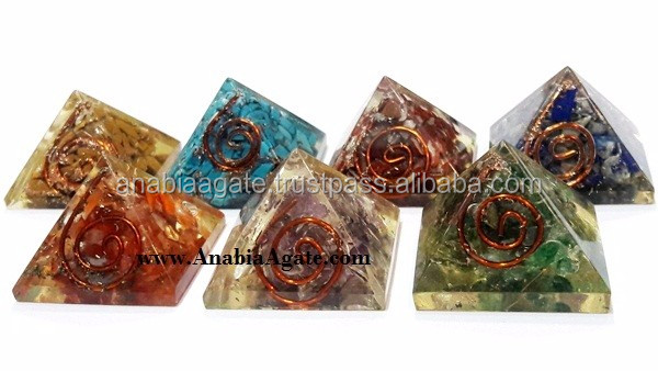Dyed 7 Chakra Orgone Antenna with Copper Wire Wrapped Set