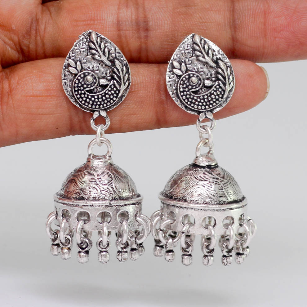 Jaipur Mart Wholesale Oxidised Earrings Silver Plated Jewelry Indian Traditional Design Jhumka Earring for Fashion Women & Girls