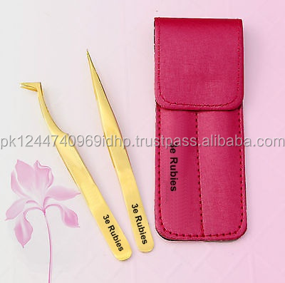 2 Pcs Gold tweezers with pouch/ V- Cut Shaped Volume Lash Tweezers / L Type Volume Lash Tweezers For 3D - 6D Eyelash
