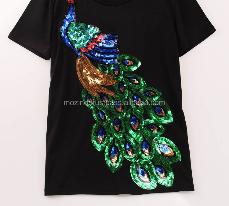 2016 Noble Elegant T shirt Women Peacock Sequined Sequins T-shirt Women Fashion New Top Tee Shirt Femmer Woman Sakura Clothes