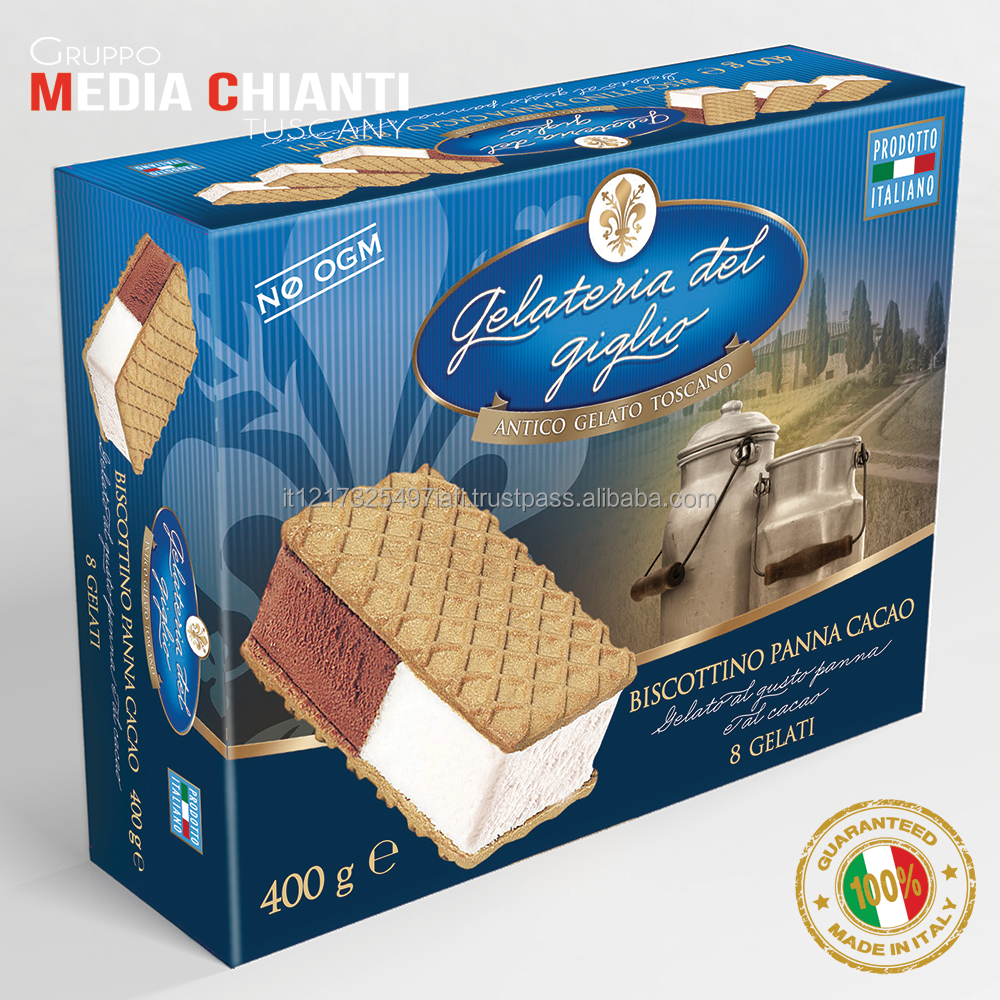 Quality Specialty Italian CREAM AND COCOA ICE CREAM SANDWICH Box 400 gr