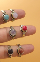 6 Pcs. Lot Oxidized Sun Stone & Multi Stone 925 Solid Brass Ring, Wholesale Solid Brass Ring