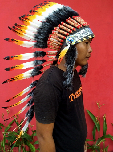 Indian style headdress, Feather headdress, Indian warbonnet, Festival Headdress, feather headpiece, feather crafts, Medium feath