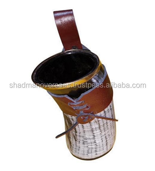 Medieval Horn Beer Cup With Leather Belt and Metal Border SOHM-9