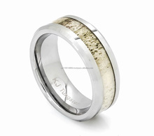 Natural Deer Antler Ring with Wood Inlay - Unisex Tungsten Hunter Ring #DAR5