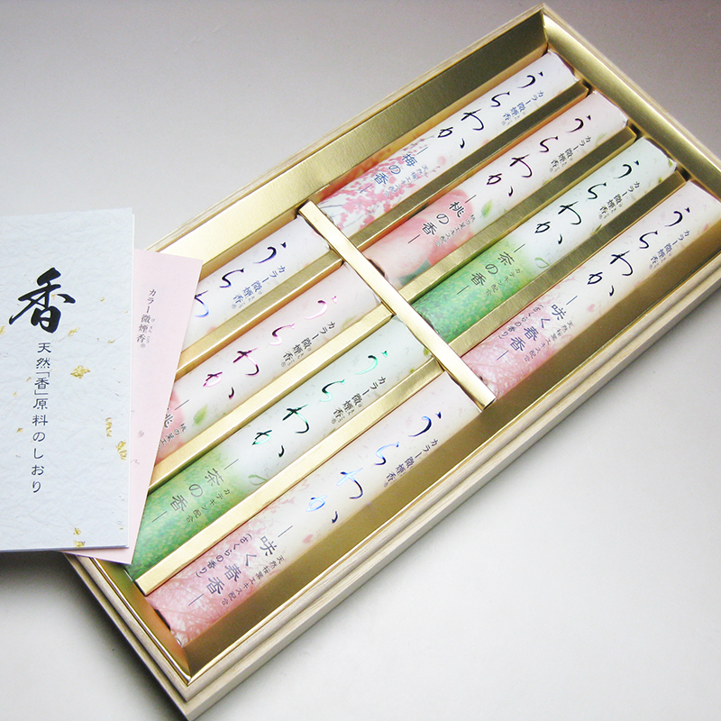 Seijudo Japanese incense sticks gift, Urawaka Series, Less Smoke Type, 8 bunches in a wooden box