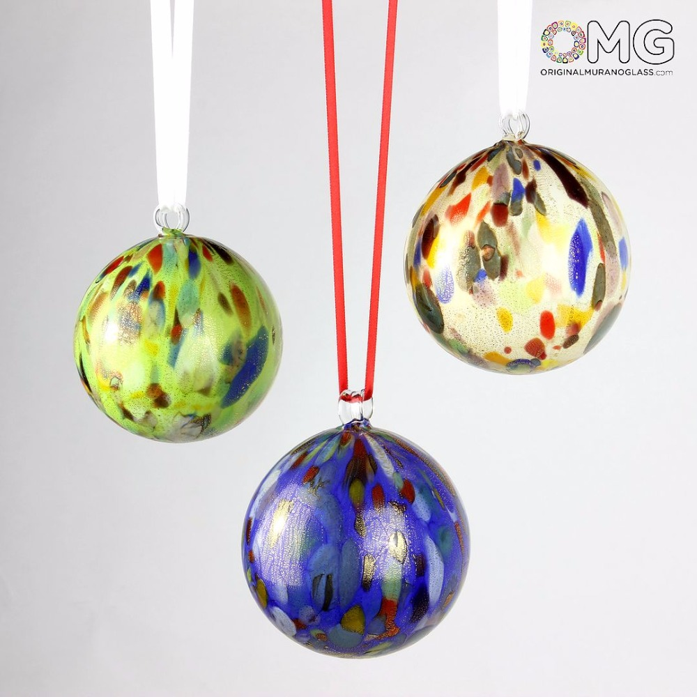 Murano Glass Xmas Christmas Balls - Dot Fantasy Set of 3 - Green, Blue, White