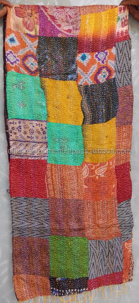 Multicolor printed silk kantha stoles hand stitch kantha scarf patch work