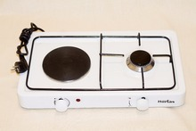 3033 - 1+1 BURNER GAS-ELECTRIC COOKER ENAMEL PLATE COUNTER TOP HOB