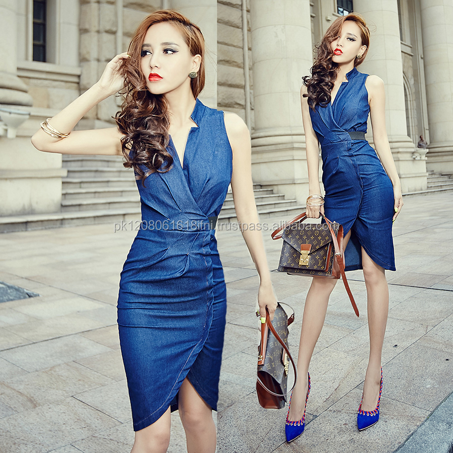 sexy women outfit made in jeans denim fabric best fit dress