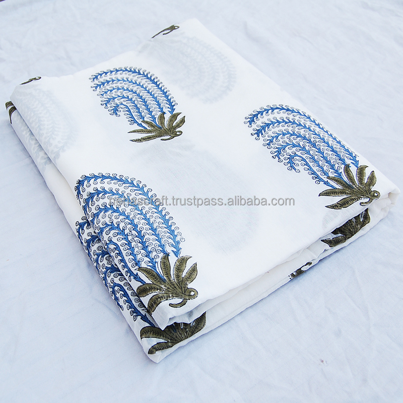 Tree Leaf Blue White Quilting Voile Indian Wooden Stamp Printed Cotton Fabric NCPCF-18A Sanganeri Art Hand Prints Cotton Fabric