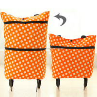 Wholesale price cool style foldable shopping bag with wheel