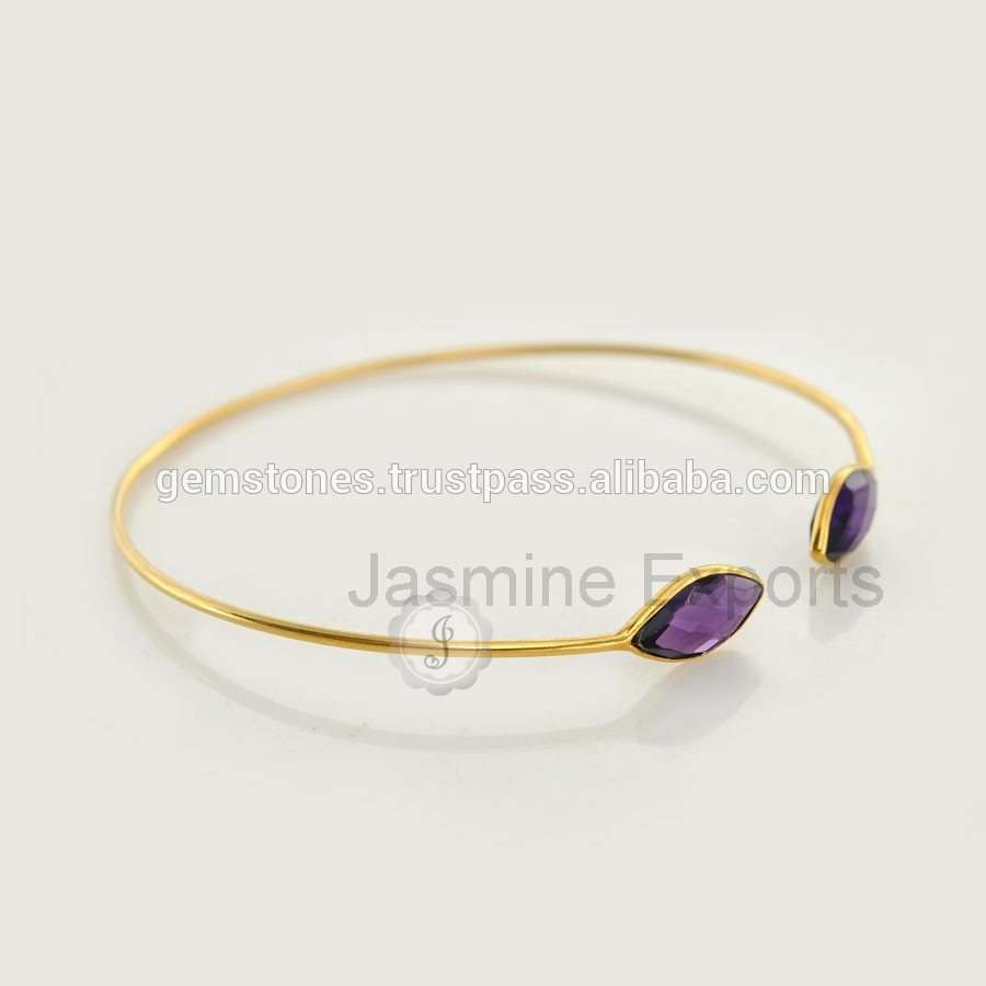 New Model of Amethyst Gemstone Sterling Silver Ladies Fancy Designer Bangles for Valentine's Day