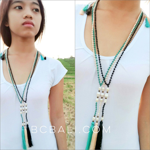 beads stone necklaces tassels pendant fashion with fresh water pearls jewelry