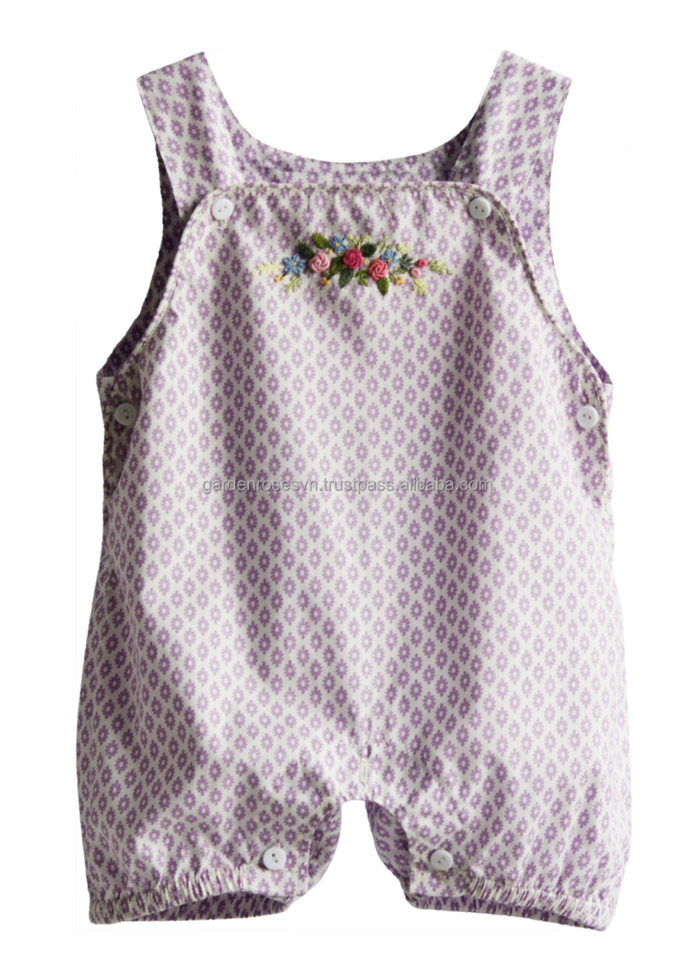 Gorgeous hand embroidered baby girl romper 100% cotton poplin