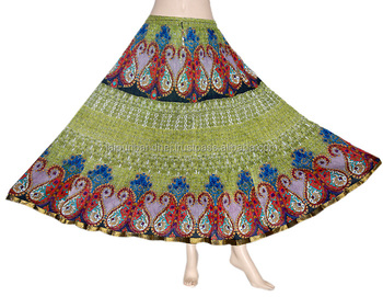Indian Women Rajasthani Green Color Multi Print Skirt For Ladies